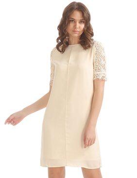 ELLE White Polyester Lace Panel Shift Dress