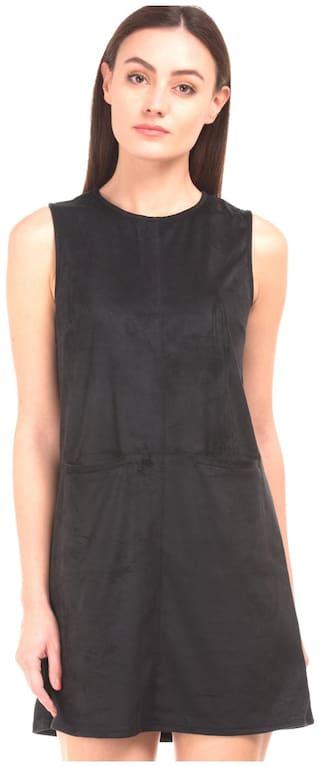 ELLE Polyester Solid Sheath Dress Black