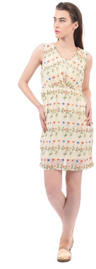 ELLE Polyester Printed Sheath Dress Cream