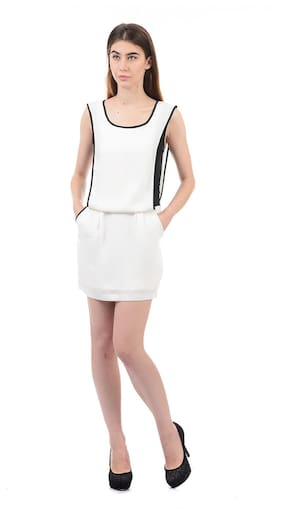 ELLE Polyester Solid Sheath Dress White