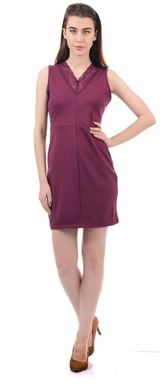 ELLE Blended Solid Sheath Dress Maroon