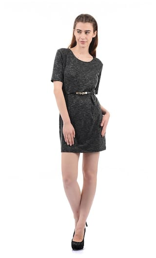 ELLE Polyester Solid Sheath Dress Black