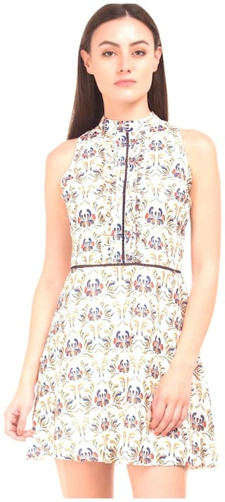 ELLE Polyester Printed A-line Dress White