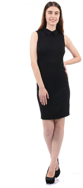 ELLE Blended Solid Sheath Dress Black