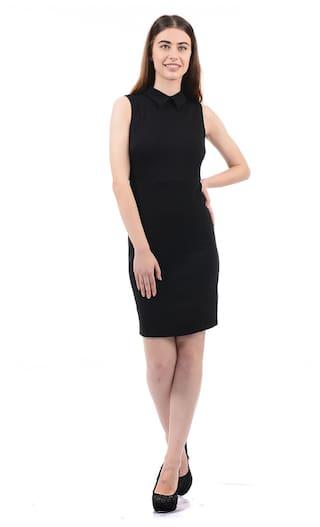 ELLE Blended Solid Sheath Dress Black