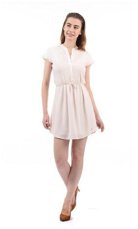 ELLE Georgette Solid Sheath Dress Cream