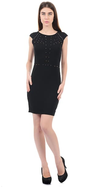 ELLE Black Embroidered Sheath dress