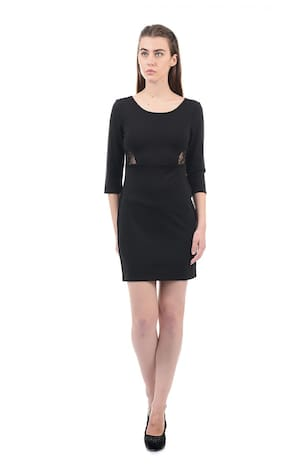 ELLE Polyester Solid Bodycon Dress Black