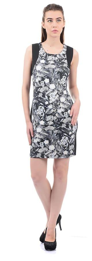 ELLE Polyester Printed Sheath Dress Black