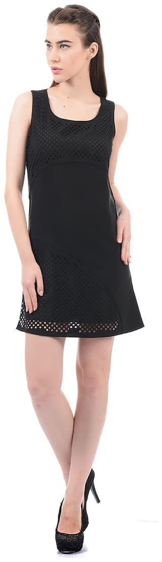 ELLE Polyester Solid A-line Dress Black