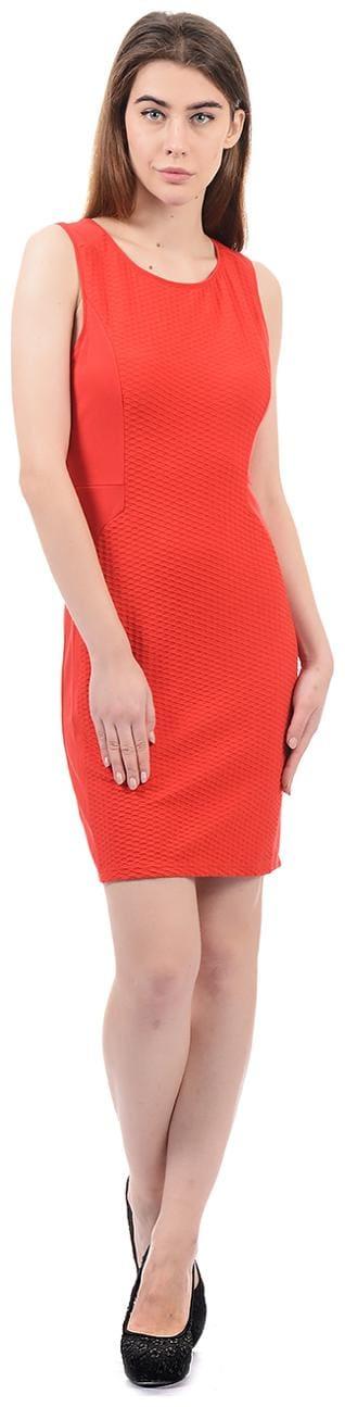 ELLE Blended Solid Sheath Dress Red