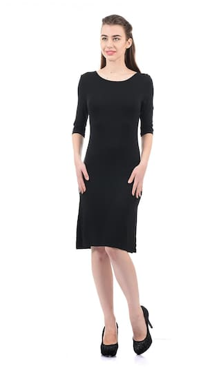 ELLE Viscose Solid Bodycon Dress Black