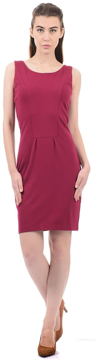 ELLE Blended Solid Sheath dress Maroon
