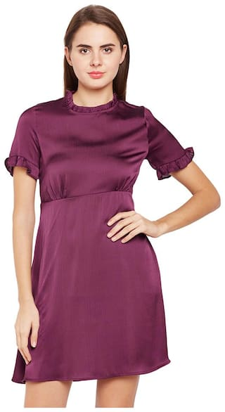 OXOLLOXO Maroon Solid A-line dress