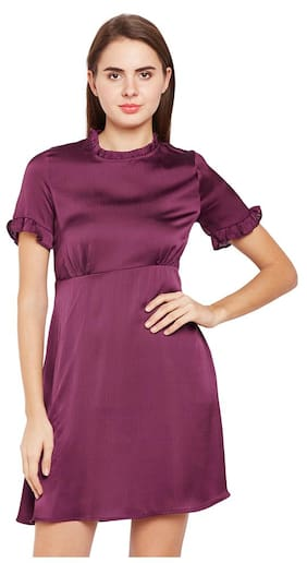 OXOLLOXO Polyester Solid A-line Dress Maroon