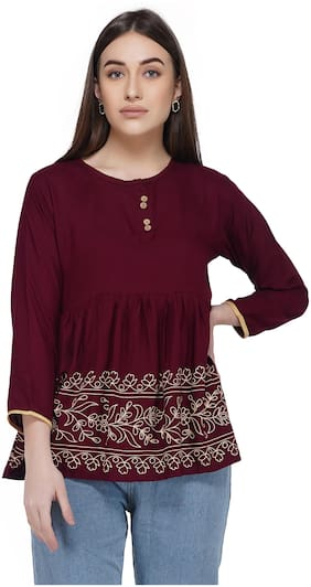 Elyraa Women Floral Regular tunic - Maroon