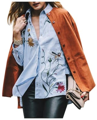 Embroidery Shirt Asymmetrical Blue Striped Tops