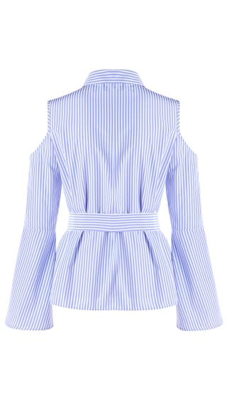 Embroidery Blouse Shoulder LL Cold Striped Store qCZnqrt