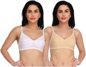 EMPISTO Set of 2 Non Padded Cotton Plunge Bra - White & Beige