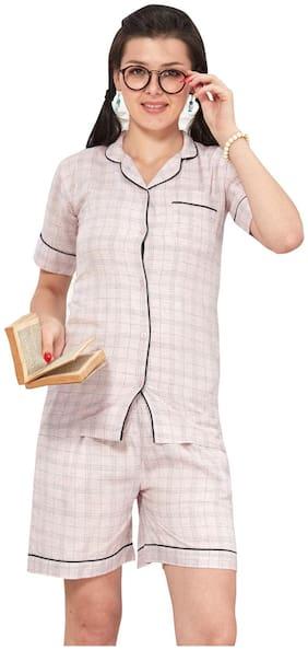 EN enORA Women Cotton Checked Top and Shorts Set - Beige