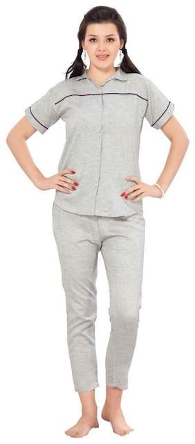 EN enORA Women Cotton Printed Top and Pyjama Set - Grey