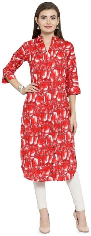 Enchanted Drapes Women Red Printed Straight Kurti