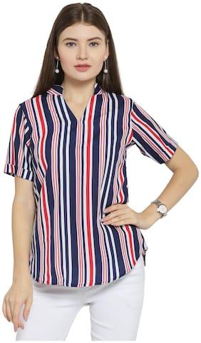 Women Striped Classic Collar Top