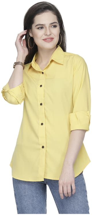 Enchanted Drapes Women Yellow Solid Regular Fit Shirt