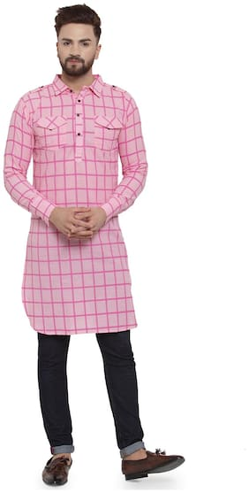 Men Checked Regular Fit Kurta