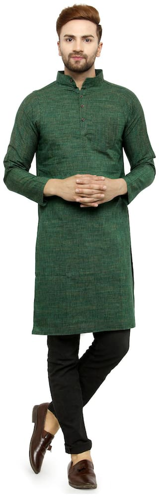 Enchanted Drapes Mens' Solid Long Green Cotton Long kurta