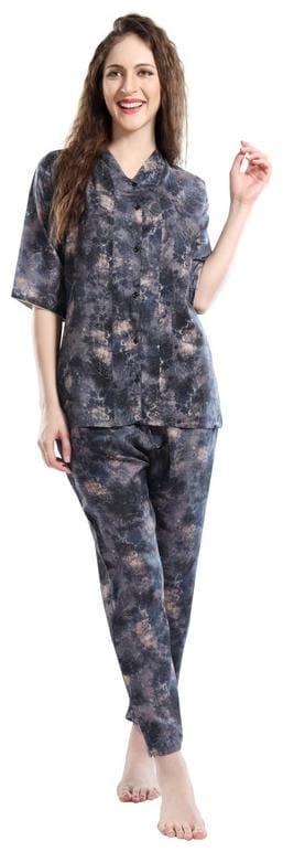 EN enORA Women Blended Printed Top and Pyjama Set - Black
