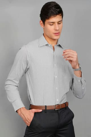 Enso Men Slim Fit Formal Shirt - Grey