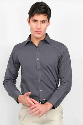 Enso Men Regular Fit Formal Shirt - Grey