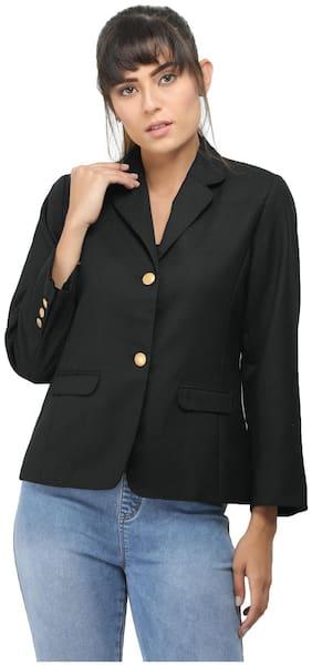 Entease Women Solid Regular Fit Blazer - Black