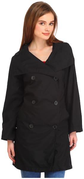 Entease Women Solid Regular Fit Coat - Black