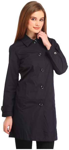 Entease Women Solid Regular fit Coat - Black
