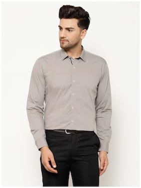 EPPE Men Grey Solid Slim Fit Casual Shirt