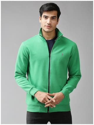 EPPE Fleece Solid Green Sweatshirt  For Men