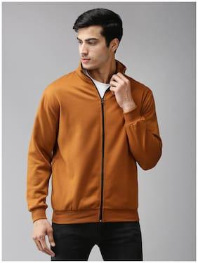 EPPE Fleece Solid Brown Sweatshirt  For Men