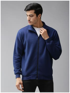 EPPE Fleece Solid Blue Sweatshirt  For Men