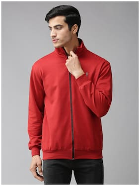 EPPE Fleece Solid Red Sweatshirt  For Men