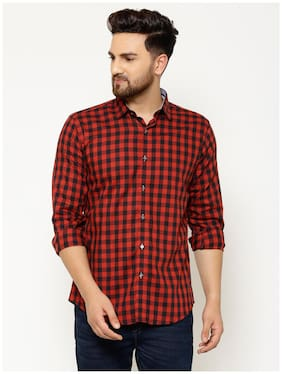 EPPE Men Red Checked Slim Fit Casual Shirt