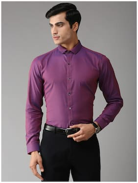 EPPE Men Purple Solid Slim Fit Casual Shirt