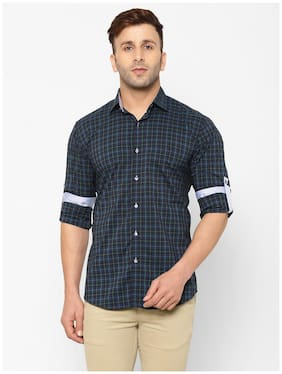 EPPE Men Navy Blue Checked Slim Fit Casual Shirt