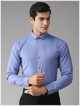 EPPE Men Blue Solid Slim Fit Casual Shirt