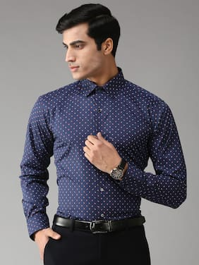 EPPE Men Blue Printed Slim Fit Casual Shirt