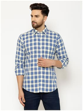 EPPE Men Blue Checked Slim Fit Casual Shirt