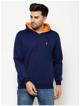 EPPE Men Cotton Blend Solid Navy Blue Hoodie