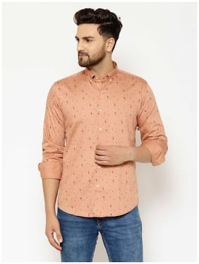 EPPE Men Brown Printed Slim Fit Casual Shirt