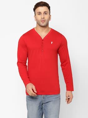 EPPE Men Red Regular fit Cotton Henley neck T-Shirt - Pack Of 1